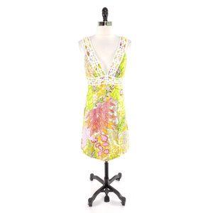 Trina Turk Textured Plunging Crochet Dress